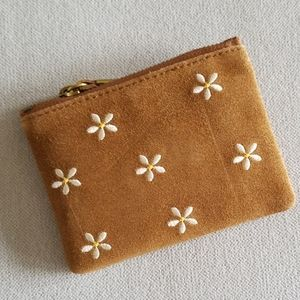 Madewell Daisy Embroidered Suede Wallet
